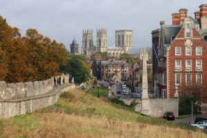 The walls of ancient Ebor (York) on the Ebor Way